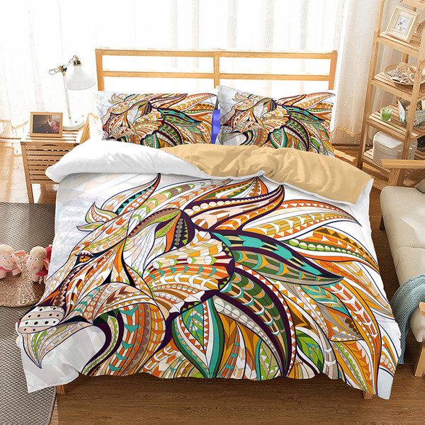 Art Lion Pattern Oil Painting Printed Bedding Sets All Sizes Pillow Case Quilt Cover Duvet Cover