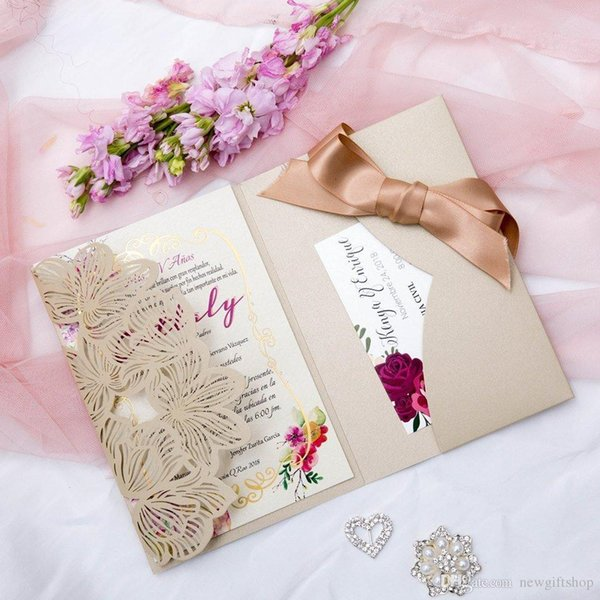 2019 Blush Beige Laser Cut Pocket Wedding Invitation Kits Trifold Shimmer Beach Invites With Belly Band Free Printing Postcard