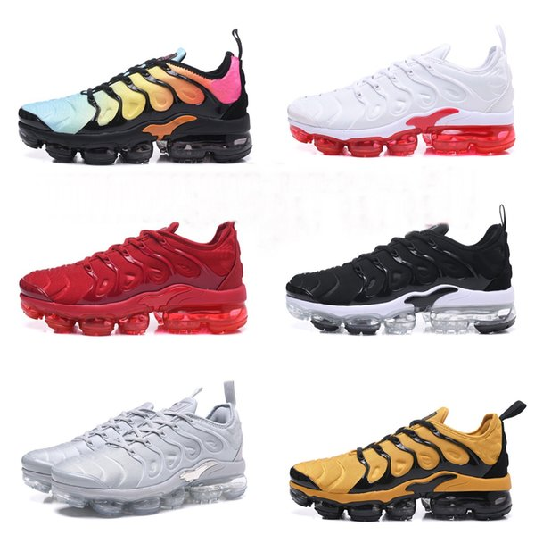 new style 373fb 1c892 2018 2018 New Vapormax Plus Tn Ruuning Sport Shoes Mens White Black And  White Orange Sapphire Green University Red Black Red Black Red Size:40 45  From ...