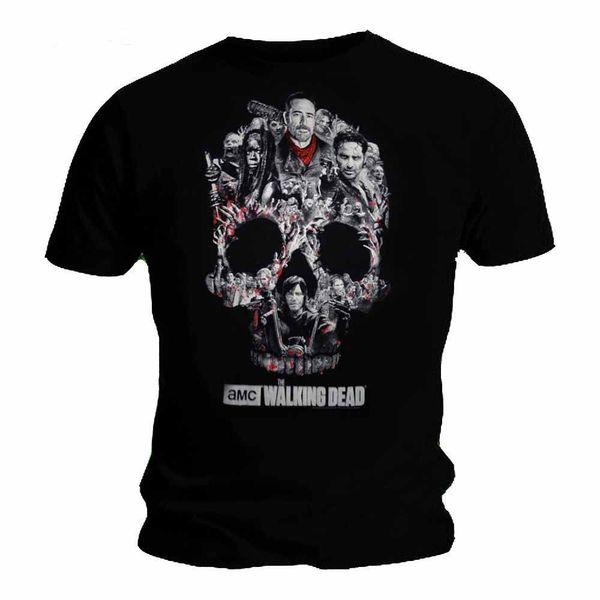 The Walking Dead NEGAN SKULL MONTAGE T Shirt *новый официальный продукт 2018 новый с коротким рукавом повседневная футболка печать тройники мужчины