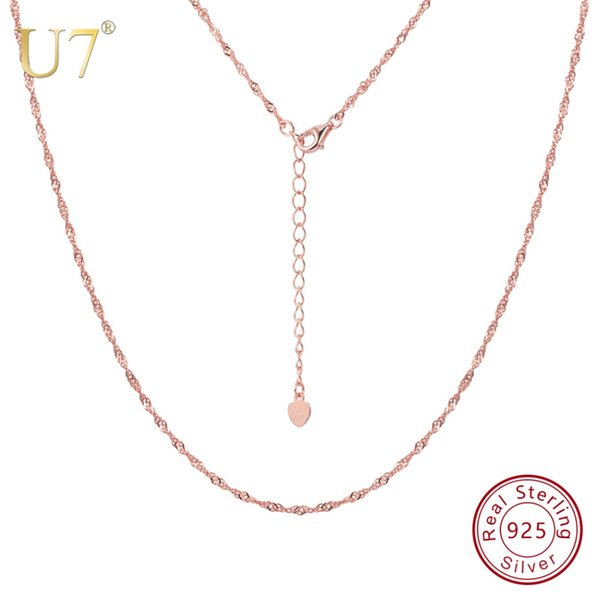 U7 925 Sterling Silver Long Silver Chain 1.6mm Water Wave Chain Simple Necklace for Women Jewelry Slim Chains 46-55cm SC117