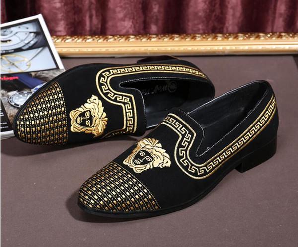 Promotion Frühling Männer Velvet Loafers Party Hochzeit Schuhe Europa Stil bestickt schwarz Velvet Hausschuhe Driving Mokassins Größe 38-46