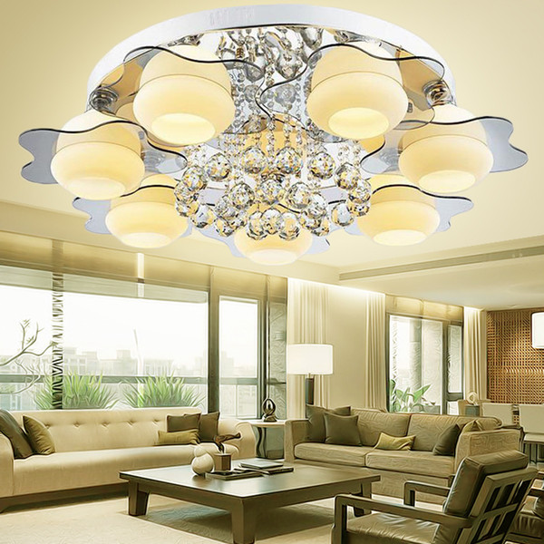 2019 Led Crystal Flush Mount Ceiling Light Lamp Home Decor Chandeliers  Ceiling Mirror Bedroom Ceiling Lights For Living Room From Youerlamp,  $101.64   ...
