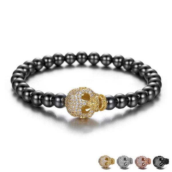Magia nera ematite pietra perline braccialetto maschile testa di cranio di cristallo di fascini del braccialetto uomini bracciali pietra natura uomini gioielli