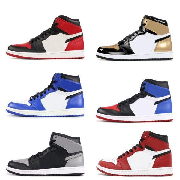 1 Chicago blanc rouge Top 3 Black Bred toe chaussures de basket-ball Mens formateurs 1 s Royal Sneakers avec chaussures boîte Michael Sports