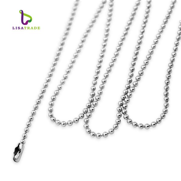 10PCS! Cadena de bolas collar para colgante con etiqueta deslizante collar / medallón flotante 50/80 cm longitud acero inoxidable LSBR029-30 * 10