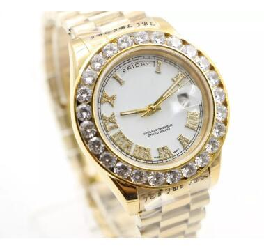 Prong set diamonds bezel watch automatic mens luxury gold case white dial Roman markers day date AAA watches