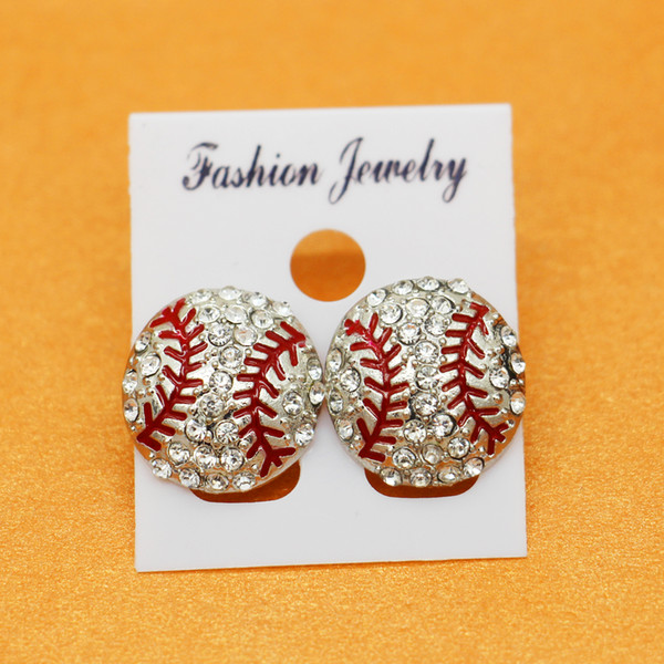 best selling 2018 white Rhinestone round yellow softball stud earrings gift for sports mom spots team gift for her softball mom fashion earring hook stud