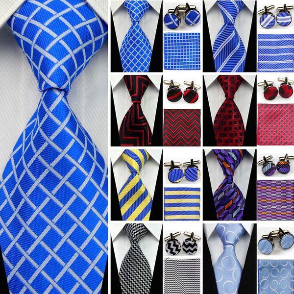 Suit Necktie Ties for Men Gravatas Mens Accessories Wide Silk Tie Set Geometric Plaid Business Hanky Handkerchief Cufflinks SNT
