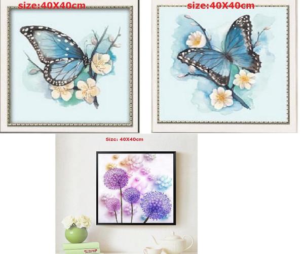 Bordado DIY 5D Pintura de diamante Mariposa dandylions Diamante Punto de cruz Paisaje Mosaico Imagen de Juego de taladro de diamante de imitación de 3 LF-126