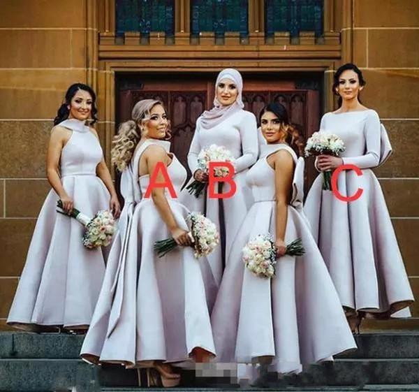 Abiti da damigella d'onore con grandi abiti da damigella d'archi di colore viola chiaro Abiti da cerimonia da donna musulmani arabi plus size abito da cerimonia nuziale