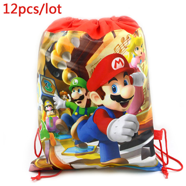 Super Mario Theme Baby Shower Mochila Events Party Boys Favors Backpack Birthday Decoration Blue Drawstring Gifts Bags 12pcs/lot