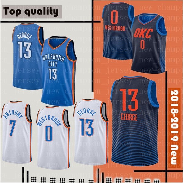 best loved 0922a 432b1 2018 Men'S Oklahoma City 13 Paul George 0 Russell Westbrook Thunder Jersey  7 Carmelo Anthony 2018 New Basketball Jersey Stitched Jerseys From ...