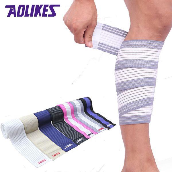 AOLikes 2 Pcs 90 * 7 .5cm Cinta de vendaje elástico Sport Knee Support Correa Shin Guard Compression Protector para Tobillo Pierna Wrist Wrap