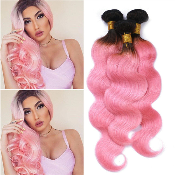 Light Pink Ombre Virgin Peruvian Hair Weave Bundles Body Wave Wavy Dark Roots Pink Ombre Human Hair Double Wefts Extensions 300g