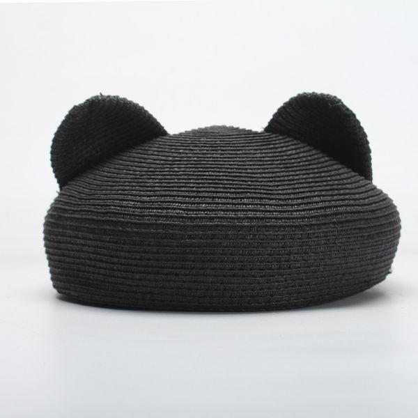Para mujer Sombrero Boina Hembra Mezcla de Algodón de Lana Moda Orejas de Gato Boina Negro Cap Otoño 2018 Marca Nueva Mujer Gorras Plegable