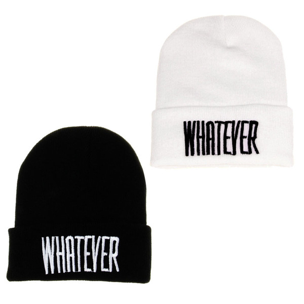 Winter Black Whatever Beanie Hat And Snapback Men And Women Cap Knitting Wool about 54cm~60cm New fashion design high quality