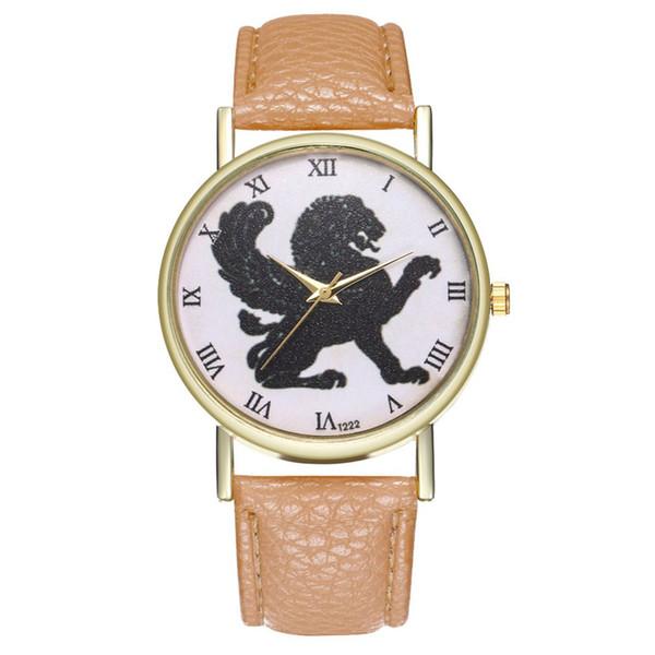 Reloj minimalista de cuarzo para mujer Reloj con dial redondo y correa de cuero Relojes de moda Diseño casual para Lady Girls