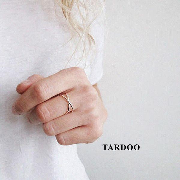 Tardoo 925 Sterling Silber Frauen Ringe Trendy Minimalist C Form Öffnen Kreuz Manschette Verstellbaren Ring Einfache Schmuck Y1892607