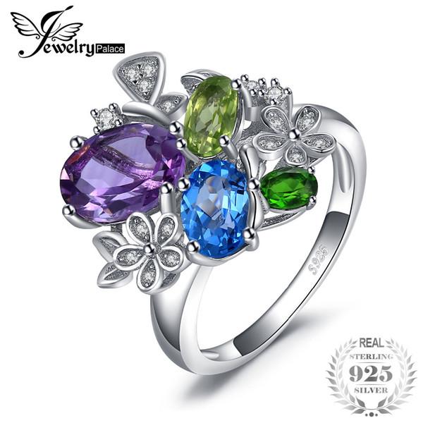 Jewelrypalace Blume 2.6 echter Amethyst Sky Blue Topaz Peridot Chrom Diopsid Anhänger 925 Sterling Silber für Frauen neue heiße