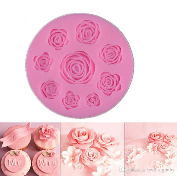 Blooming Flowers Pattern Fandant Slicon Biscuit Mold Patisserie Gateau Cake Pastry Baking Tools Cupcake Toppers Baking Moulds