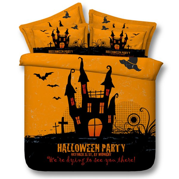 3D halloween party Duvet Cover bedding sets queen castle Bedspreads Holiday Quilt Covers Bed Linen Pillow Covers orange comforter cover