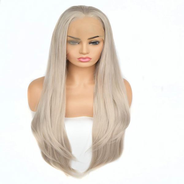 Perruques de cheveux synthétiques blanc platine gris droit dentelle frontale synthétique perruque