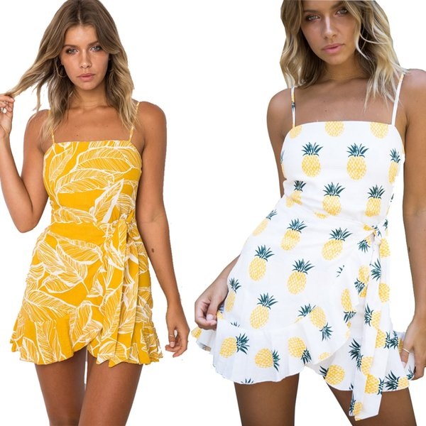 Beach Dress for Women with Yellow Leaves White Pineappl Print Waist Tie Spaghetti Strap Fit and Flare Dress Summer Boho Clothes Sun Dresses