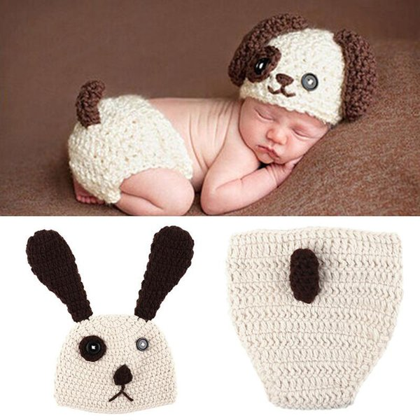Baby Newborn Photography Props Costume Cartoon Big Ears Knit Hat Pant Set Baby Newborn Photo Shoot Accessories