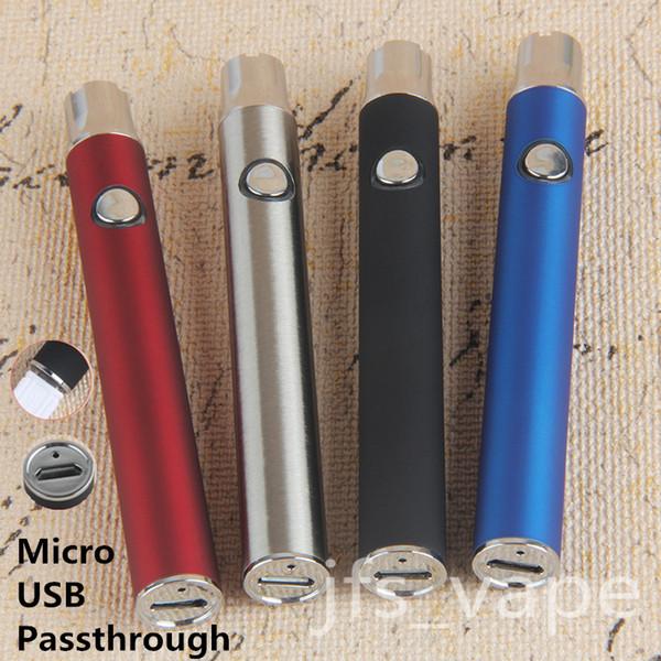 2018 Nuevo 510 eCig Thread Vaporizer Battery eGo Micro USB Pase a través de voltaje variable ajustable 350mAh Precalentamiento con carga inferior Vape