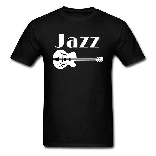 Mürettebat Boyun Tasarım Pamuk Kumaş Mens T Shirt Baskılı Tops Tees Siyah Komik Normal Tee-Gömlek Caz Gitar Severler Için Caz Müzik Severler Hediye
