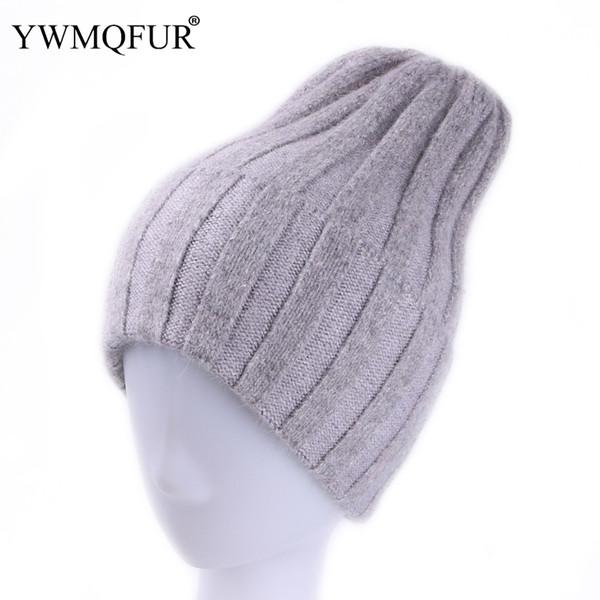 YWMQFUR Fashion Winter Warm Knit Hats For Women Solid Lady Skullies Hat Female Beanies Rabbit Fur Velvet Beanies Caps Hot Sale