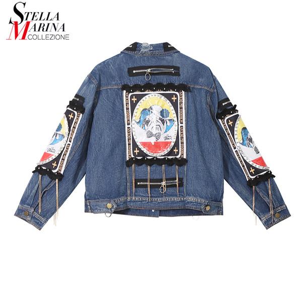 Nuovo 2018 donne di stile coreano autunno vintage giacca di jeans risvolto stampato patch femminile casual giacca casual Jean Capispalla 3730