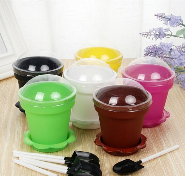 Flower Pot Cake Cups & Spoon Set Ice Cream ecoration for Wedding Kids Birthday Party Supplies Baking Pastry Tools