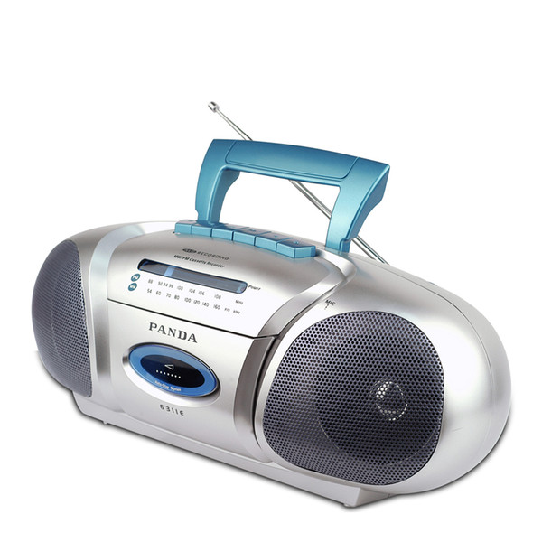 Panda 6311E Recorder small double horn learning teaching triple play tape recording Radio