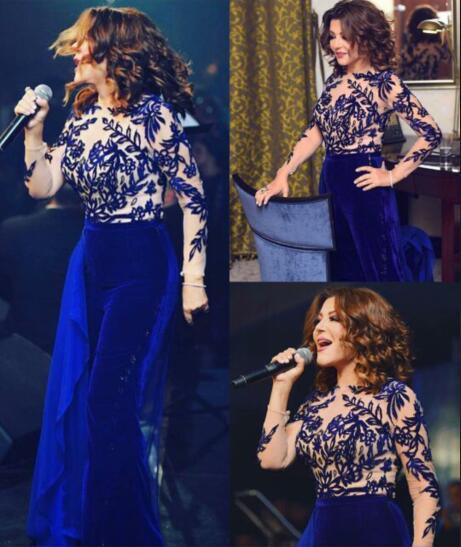 Evening dress Yousef aljasmi Jumpsuit Long Sleeve Applique Tulle Velvet Jewel Blue Juhair Murad kim kardashian Myriam Fares