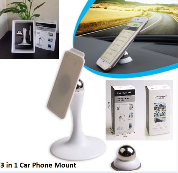 Best Universal Magnetic Phone Car Mount holder,3 in 1, Stick On Metal Ball 360 View, Fast Swift-Snap Technology for Smartphone