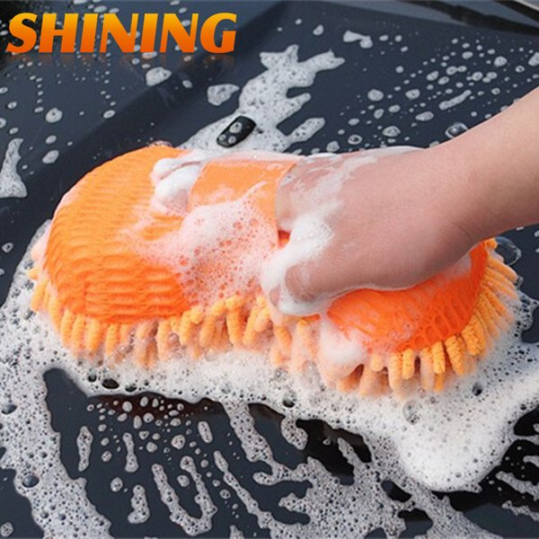 Ultrafine Fiber Chenille Car Wash Washing Glove Sponge Brush, Car Washer Supplies Magic Brush Towel Care Cleaning Sponge