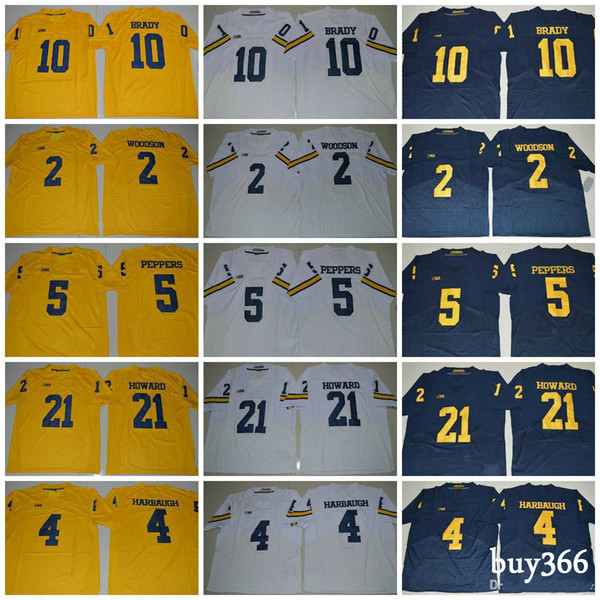 2018 Michigan Wolverines 10 Tom Brady Jersey 21 Desmond Howard 5 Jabrill Peppers 4 Jim Harbaugh 2 Charles Woodson College Football Jerseys