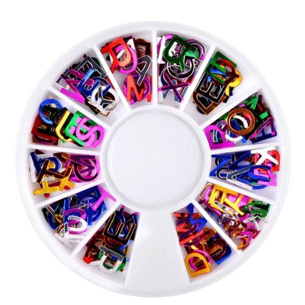2 Designs Ongles Strass Acrylique Lettre Nail Art Conseils Décoration Cristal Paillettes Paillettes Conseils Outils Avec Roue