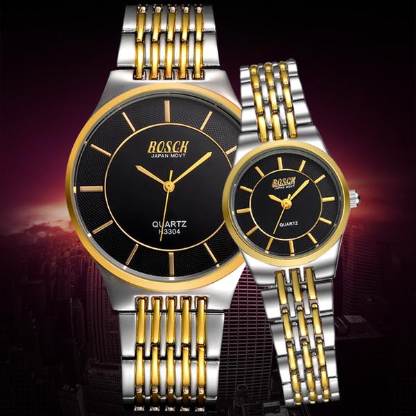 BOSCK Luxury Lovers Couple Watches Men Waterproof Women Silver Gold Stainless Steel Quartz Wristwatch Relogio Montre Homme