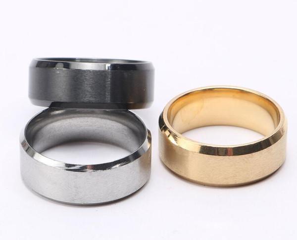 HOT Jewelry 8 MM Anillo de acero inoxidable Band Titanium Silver Black Gold Hombres Tamaño 6 a 13 Anillos de compromiso de boda