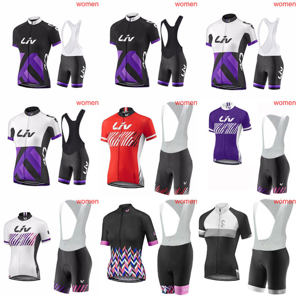 2018 LIV Pro Women Team Cycling Jersey Summer Quick dry Ropa Ciclismo Racing Bike Bib Shorts Set Mountain Bicycle Clothes 4037