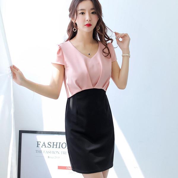 Summer Dress Women clothing Korean short sleeve Dresses Women Cute patchwork 0-Neck Dress fashion bodycon dress Vestidos