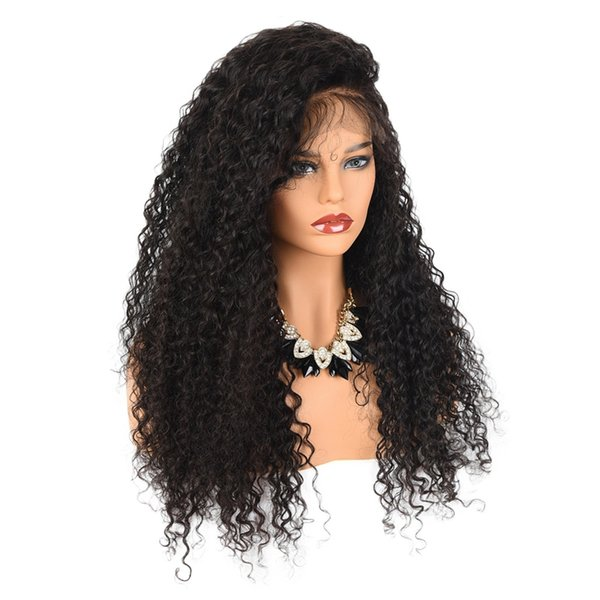 New Style Side Parting Brown Black Afro Kinky Curly Cheap Wigs Heat Resistant Glueless Synthetic Lace Front Wigs for Black Women