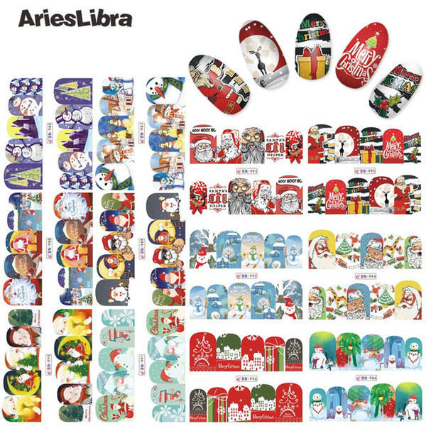 AriesLibra Nail Decal Stencil Christmas Series Snowman Nail Art Sticker Beauty Decoration Accessorie Water Transfer Sticker