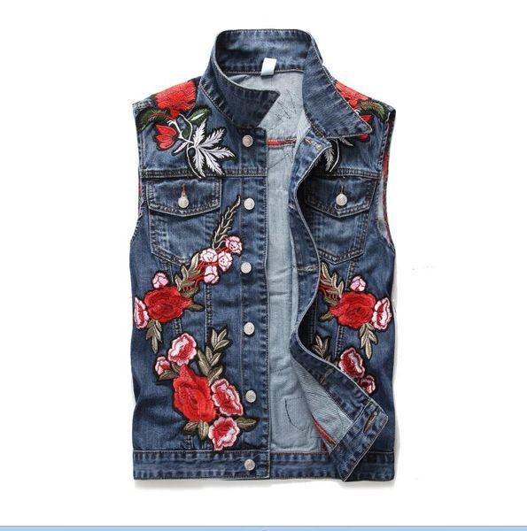 Classic Vintage Men's flower embroidery denim Vest Tops Sleeveless Jeans Jacket Slim Waistcoat men clothing US Size M-XXXL