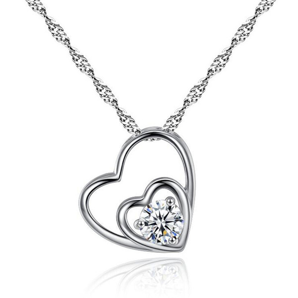 Luxury Designer Heart Silver Necklace Real Photos Shining Crystal Love Necklaces Women Slides Heart Pendant Locket Clavicle Necklace Jewelry