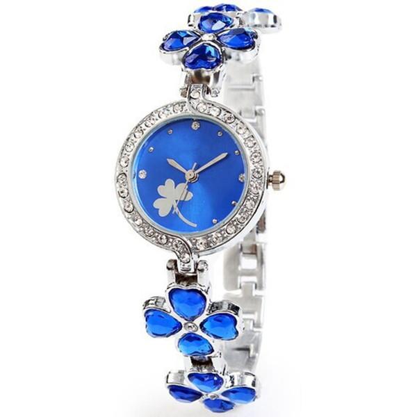 Love Heart Crystal Strap Clover Bracelet Watch Inlay Rhinestone Waterproof Quartz Dress Watches Fashion Clock Reloj