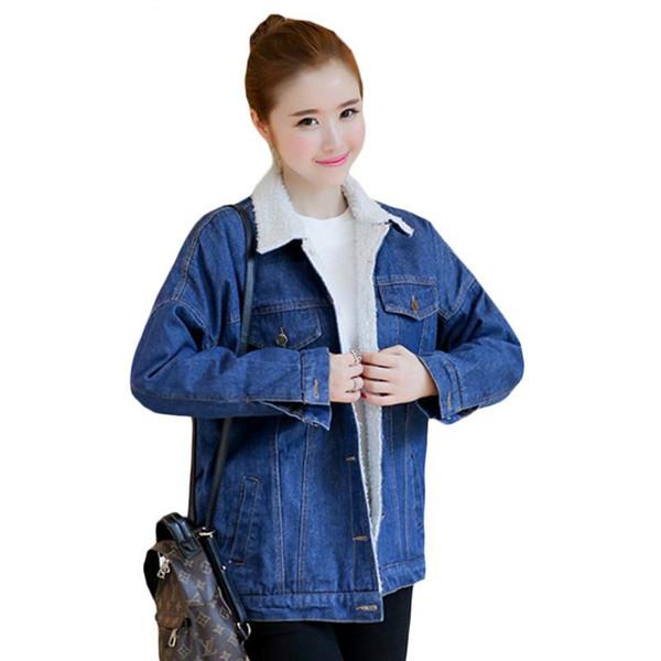 Winter-warme Pelz-Jeans-Jacken-Frauen-Bomber-blaue dünne Denim-Jacken-Oberbekleidung-Mantel mit vollen warmen Knopf-flachen Taschen